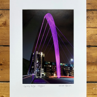 Squinty Bridge, Glasgow Signed Mounted Print FREE DELIVERY