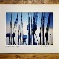 'Reflected Cranes' Glasgow signed mounted print FREE DELIVERY