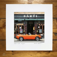 'MG at Sarti, Glasgow' Signed square Mounted Print 30 x 30cm FREE DELIVERY