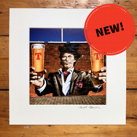 '2 pints' signed square mounted print 30 x 30cm FREE DELIVERY