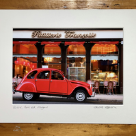 Classic 2CV, Glasgow Signed Mounted Print FREE DELIVERY