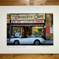 Classic Triumph Spitfire, Glasgow Signed Mounted Print FREE DELIVERY
