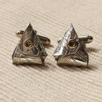 Handmade Fish Head Pewter Cufflinks.