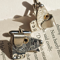 "Pewter ""Reggie"" dog cufflinks Handmade in Sheffield, England by Quirky Metals."