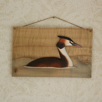 Great crested grebe wall hanging