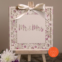 DieCut Mr&Mrs Floral Wedding Card