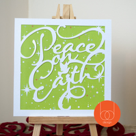 Peace on Earth Typography Christmas Card