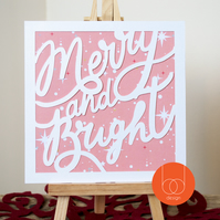 Merry and Bright Typography Christmas Card