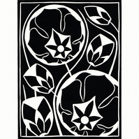 Black and White Flower Lino Print