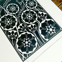 Black and White Flower Linoprint