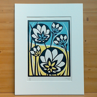 Flower Meadow Lino Print