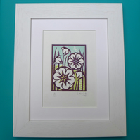 Original Linoprint Burgundy Flowers