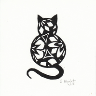 Black cat lino print