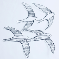 Sculptural Wire Drawing of four swifts in flight