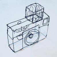 Wire Kodak Instamatic Camera Sculpture