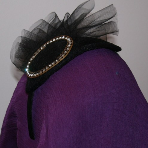 Black net hat with Victorian buckle and headband
