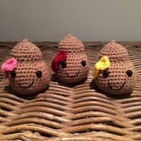 Mister Poop the plush poo with bow, handmade crochet stuffed emoji plushi