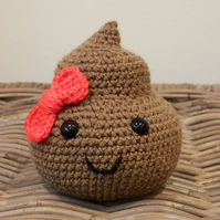 Mr Poop the plush poo with bow, handmade crochet emoji stuffed plushie