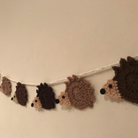 Hedgehog Bunting, cute spiky animal handmade decorative garland