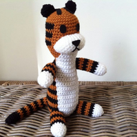 Large Harold the imaginary tiger friend, crochet plush stuffed Hobbes