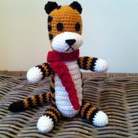 Harold with scarf the imaginary tiger friend crochet plush stuffed Hobbes