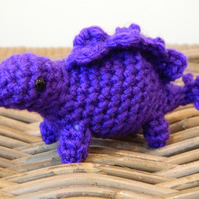 Stanley the tiny Stegosaurus dinosaur rainbow pocket dinos crochet stuffed plush
