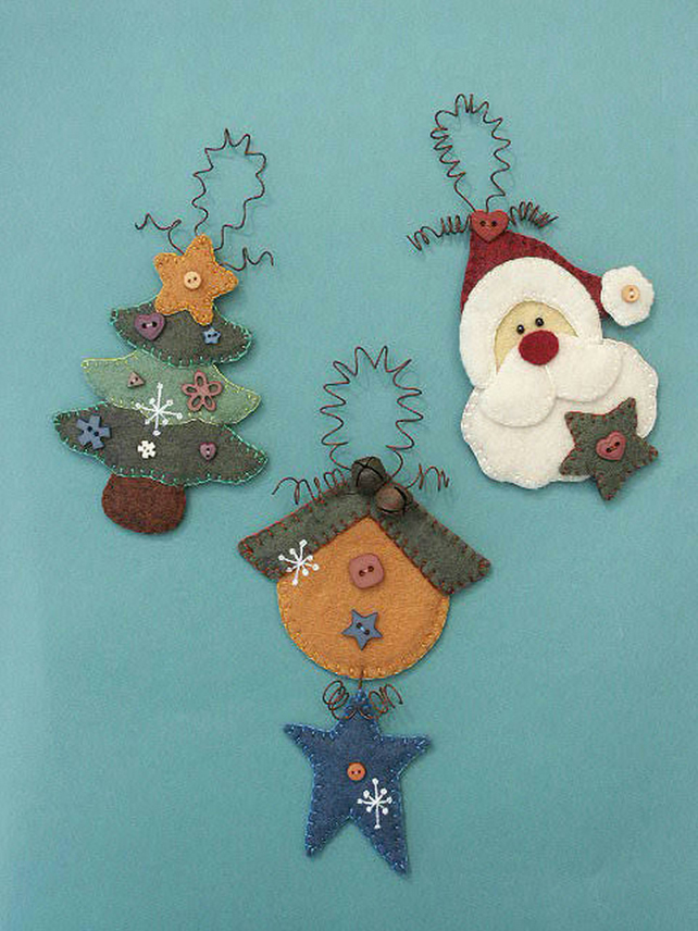PDF - Xmas Tree Hangers Felt Pattern - Christmas Decorations