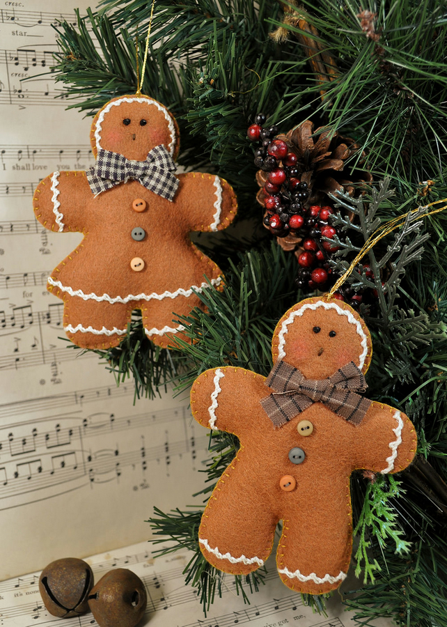 Ginger Cookies Tree Hangers Felt Pattern - Christmas Decorations