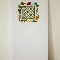 Hand embroidered flower lattice card