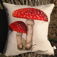 Beautiful Toadstool Linen Cushion with feather pad
