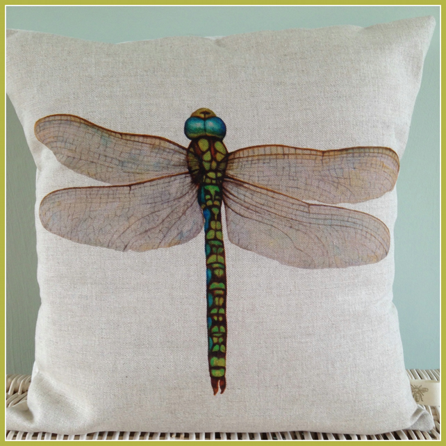 Beautifully vibrant  Dragonfly Cushion with feather pad