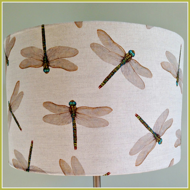 Dragonfly Linen Drum Lampshade- Large 40cm