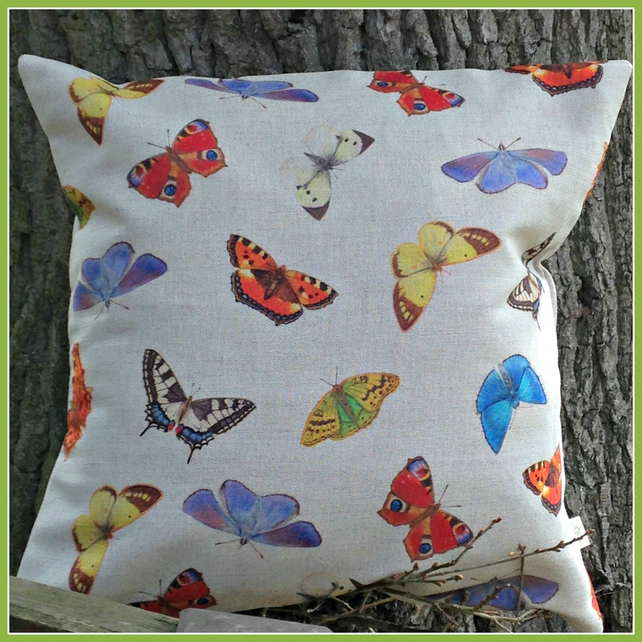 Beautiful British Butterflies and Moths Cushion with feather pad
