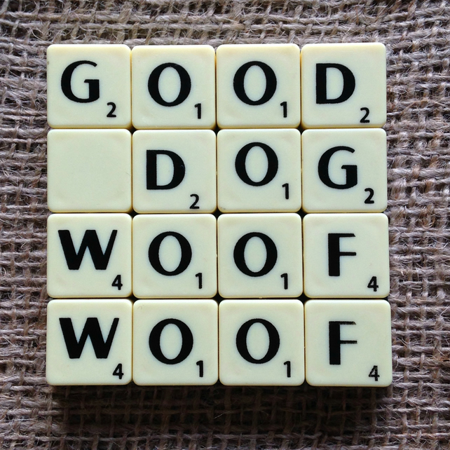 Word Art Coaster- GOOD, DOG, WOOF, WOOF