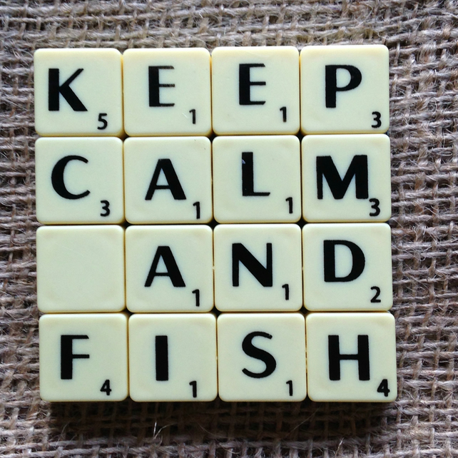 Word Art Coaster- KEEP. CALM, AND, FISH