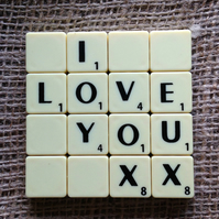 Word Art Coaster- I, LOVE, YOU, XX