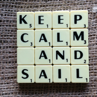 Word Art Coaster- KEEP. CALM, AND, SAIL