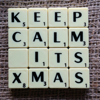 Word Art Coaster- KEEP. CALM, ITS, XMAS
