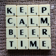 Word Art Coaster- KEEP. CALM, BEER, TIME