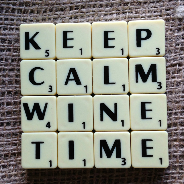 Word Art Coaster- KEEP, CALM, WINE, TIME