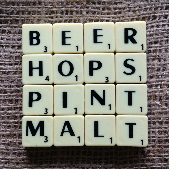 Word Art Coaster- BEER, HOPS, PINT, MALT