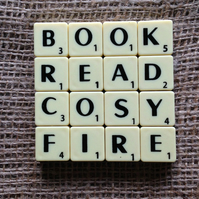 Word Art Coaster- BOOK, READ, COSY, FIRE