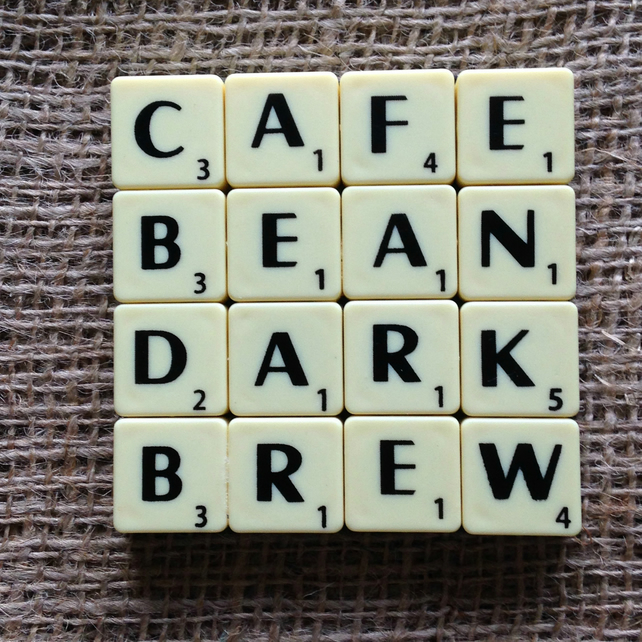 Word Art Coaster- CAFE, BEAN, DARK, BREW