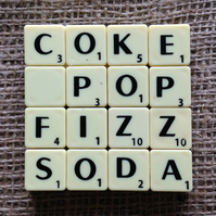 Word Art Coaster- COKE, POP, FIZZ, SODA