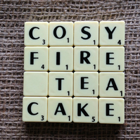 Word Art Coaster- COSY, FIRE,, TEA, CAKE
