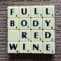 Word Art Coaster- FULL, BODY, RED, WINE