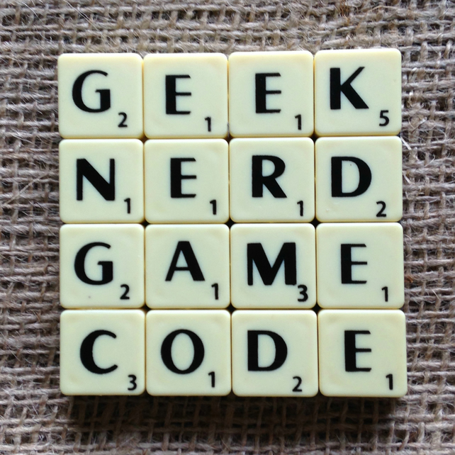 Word Art Coaster- GEEK, NERD, GAME, CODE