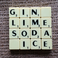 Word Art Coaster- GIN, LIME, SODA, ICE