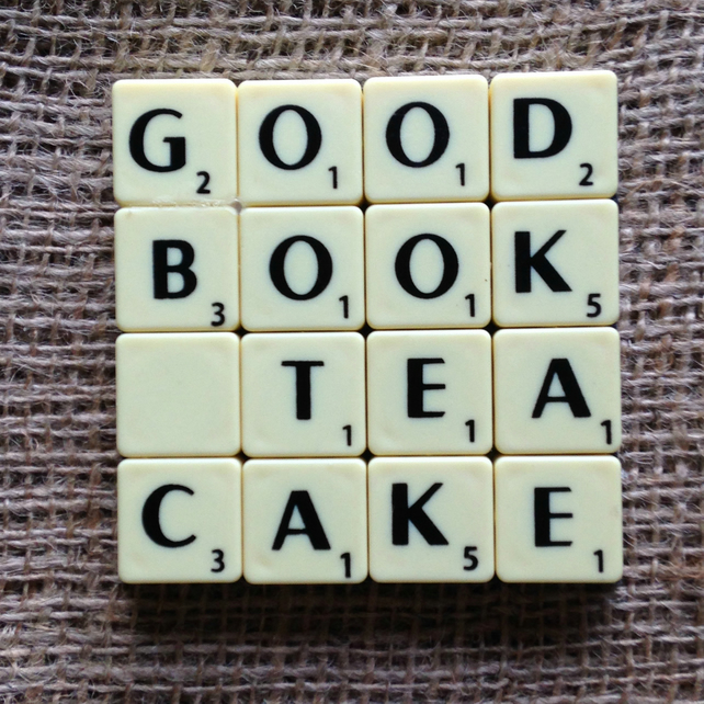 Word Art Coaster- GOOD, BOOK, TEA, CAKE