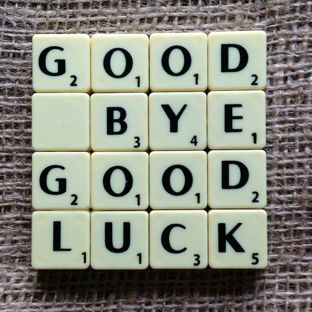 Word Art Coaster- GOOD, BYE, GOOD, LUCK